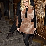 Kim Stepped Out in a Bronze Fringe-Embellished Ensemble For the Balmain Aftershow Dinner