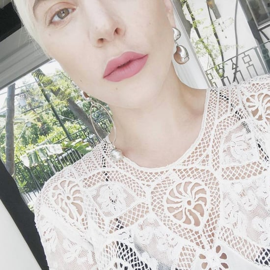 Lady Gaga Sheer Crochet Dress