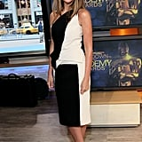To match with her black-and-white one-shouldered dress, Nina wore strappy gold-platform sandals on Good Morning America.