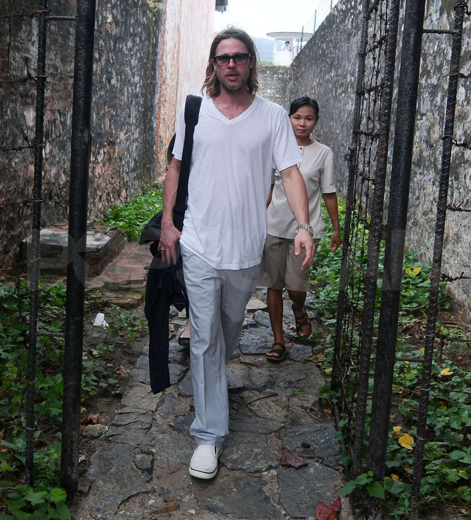Brad Pitt walked to the Con Dao Museum in Vietnam.