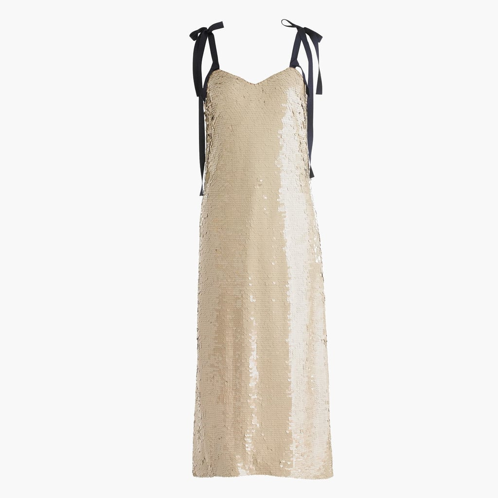 d318978a J.Crew Collection Tie-Shoulder Sequin Dress | Gisele Bundchen ...