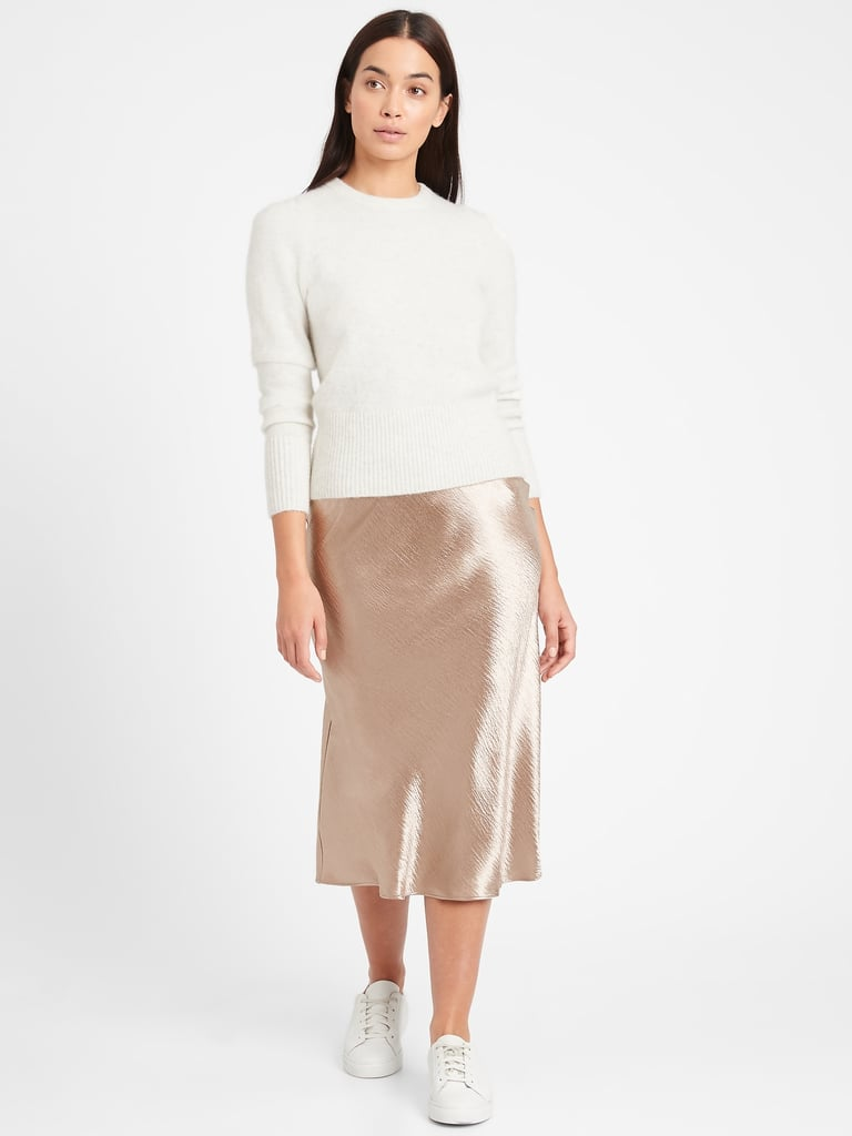 Bias-Cut Midi Slip Skirt