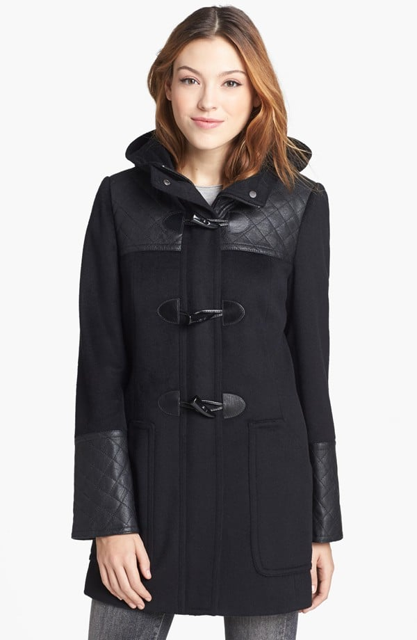 This Calvin Klein Faux Leather Trim Duffle Coat ($188) is one part classic, all parts cool.