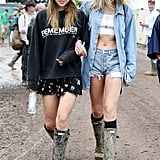 Suki Waterhouse and Lily Donaldson at Glastonbury 2016