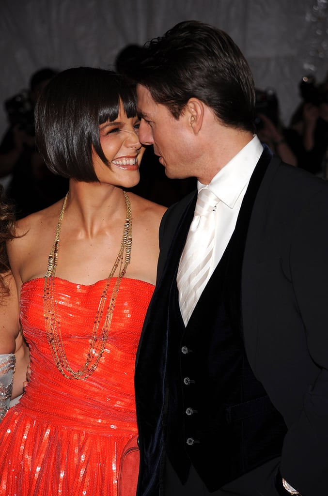 Tom Cruise and Katie Holmes were cute and cozy on the red carpet at the Met Gala in May 2008.