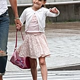 Suri Cruise skipped on her Friday walk.