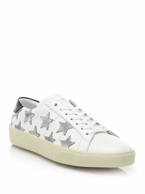 Show off your star power in these Saint Laurent Court Classic Leather & Metallic Star Sneakers ($595).
