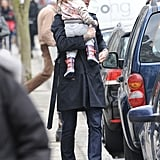 David Beckham held onto Harper in London.