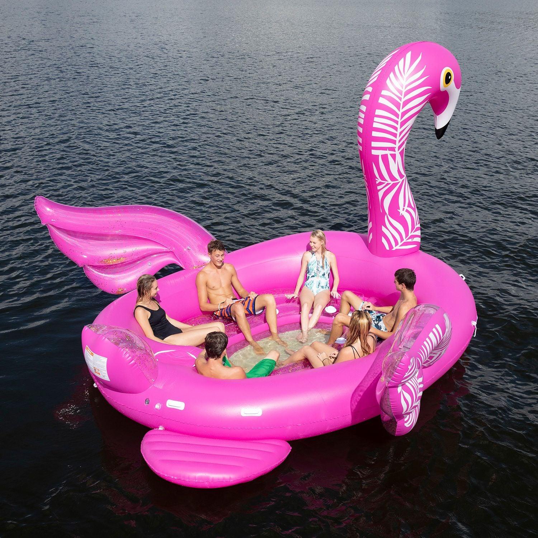 Kids Snow Sledding In Flamingo Pool Float Video Popsugar