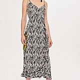 Topshop Tall Zebra Ruffle Slip Dress