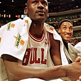 Michael Jordan and Scottie Pippen During a Milwaukee Bucks v Chicago Bulls Game in 1997