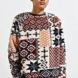 UO Cozy Sherpa Fair Isle Crew Neck Sweatshirt