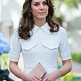 Also in India, Kate showcased her sand-colored Mulberry 'Bayswater.'