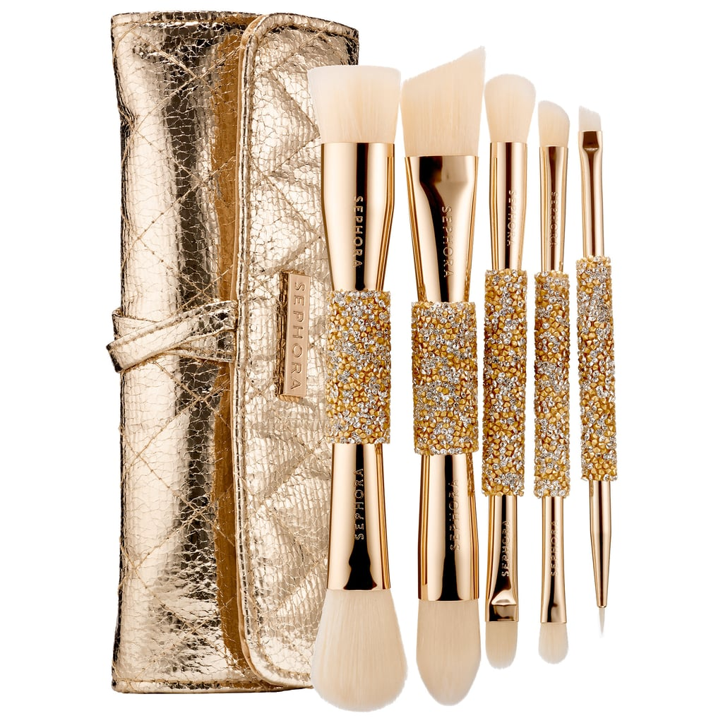 """""""Every girl loves makeup and diamonds — these makeup brushes are the ultimate combo! These pretty and functional double-ended brushes are so great for travel. I would love to get these as a gift or a stocking stuffer myself.""""   Sephora Collection Double Time Double Ended Brush Set ($74)"""