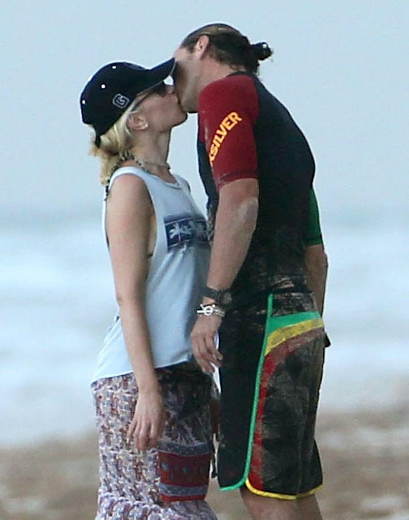 Gavin Rossdale planted a wet one on Gwen Stefani in Palm Beach, FL, in August 2012.