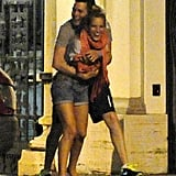 Michael Bublé hugged Luisana Lopilato during a night out in Rome in August 2012.