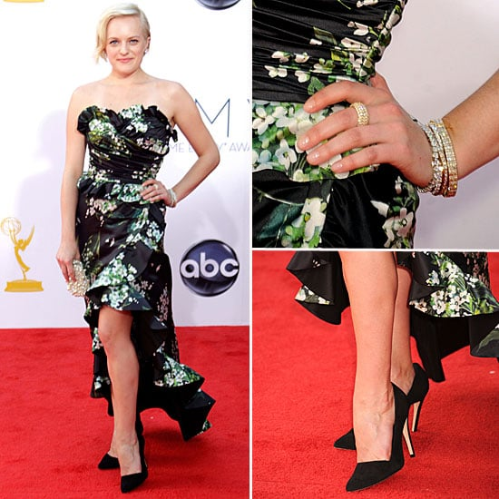 Pictures of Elisabeth Moss in Dolce & Gabban Floral dress on the red carpet at the 2012 Emmy Awards