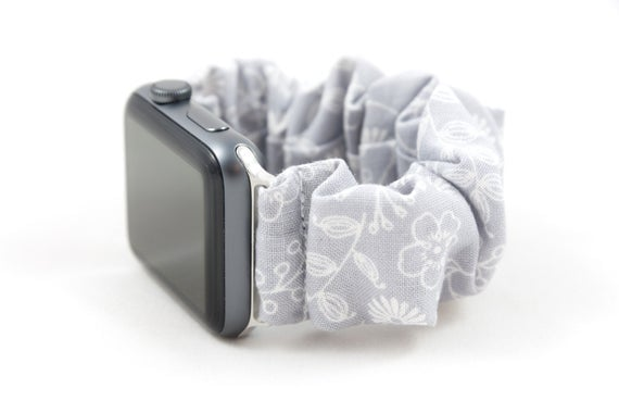 Gray Floral Scrunchie Watch Band