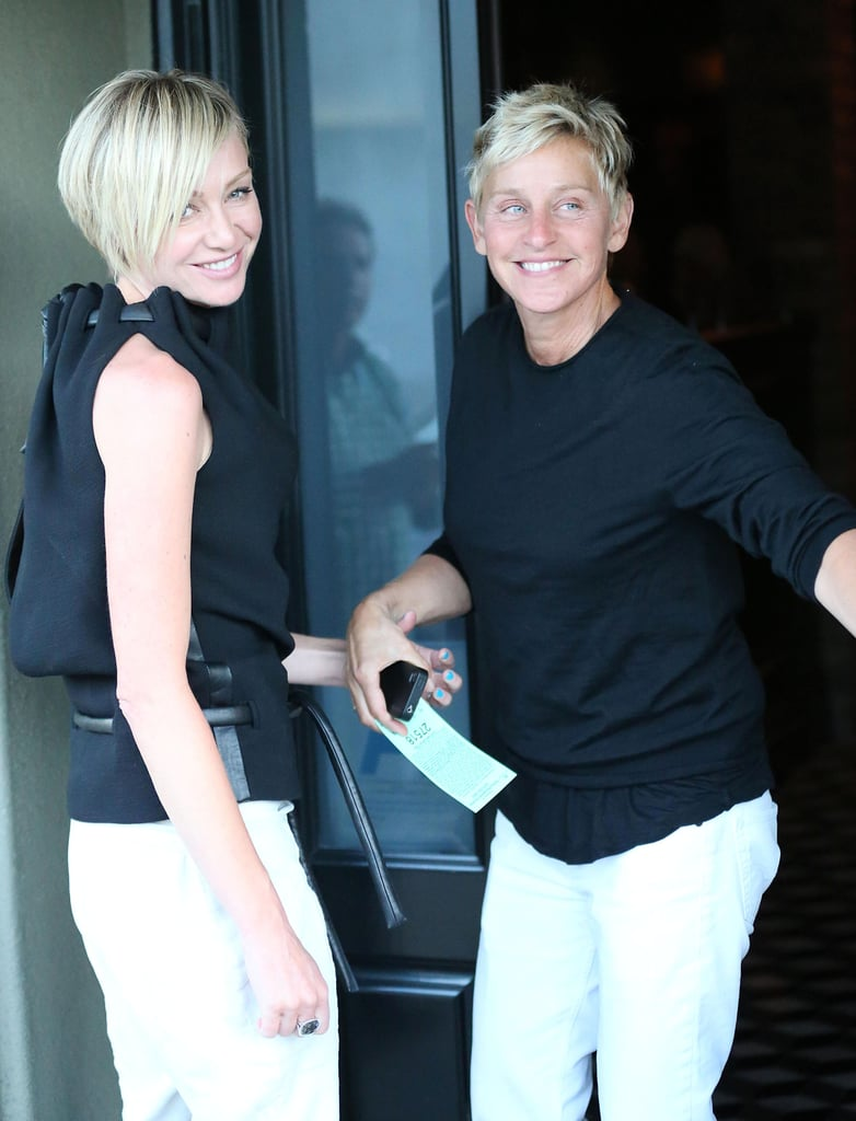 Ellen DeGeneres and Portia de Rossi headed into Craig's in LA for dinner yesterday. The couple wore similar black and white looks for the date night, which came just under two weeks after their wedding anniversary. Ellen and Portia marked four years of marriage on Aug. 16 and we recognized the occasion with a look back at their sweetest moments together. The duo have another reason to celebrate since they recently sold their Malibu home. They bought the property from Brad Pitt less than a year ago and have since moved into a new home in Beverly Hills. It's been a fun Summer for the couple, but Ellen will get back to work soon since the 10th season of The Ellen DeGeneres Show kicks off on Sept. 10.