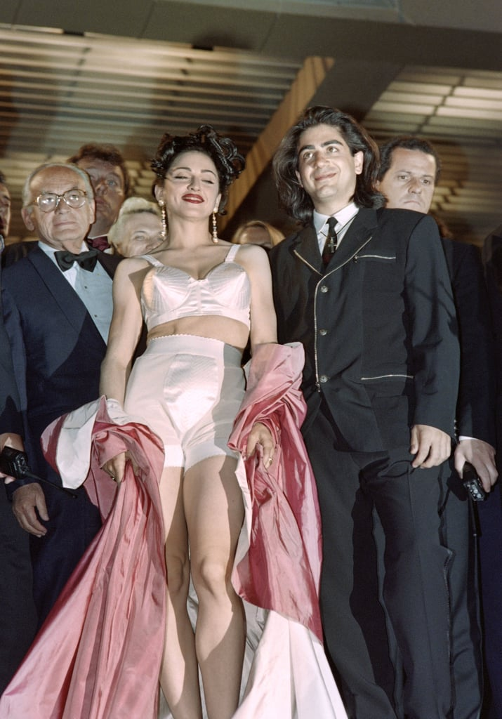 Madonna sported her now-infamous Jean Paul Gaultier cone bra during her Cannes appearance in 1991.