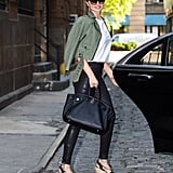 Style a Black Pair With Leather Pants and an Army Green Jacket