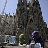 Outside of Barcelona's Sagrada Familia, demonstrators showed their support for Pussy Riot.