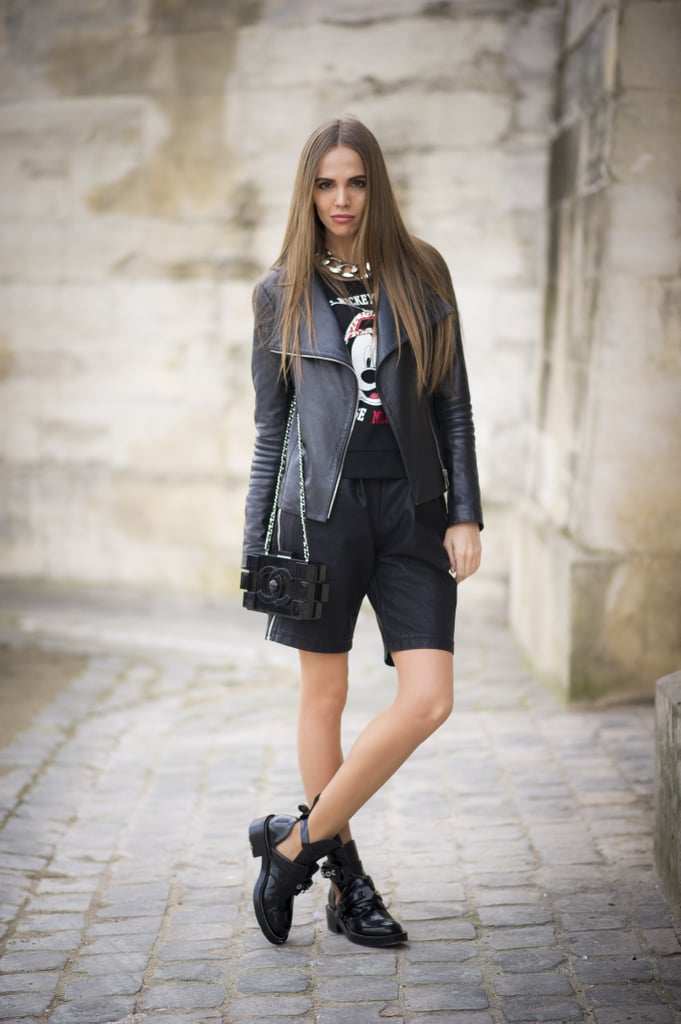 Shorts are a surprisingly practical option for the rain. Top them off with a leather jacket and finish with low-heeled booties for a functional way to stay chic in wet weather.