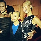 Jason Wu posed with Karlie Kloss and Erin Heatherton backstage after his Spring '13 show. Source: Twitter user ErinHeatherton