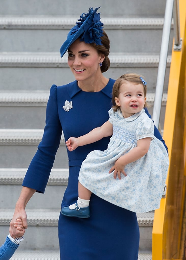 She accessorized with a maple leaf pin in honor of Canada, and daughter Charlotte accessorized with shoes that matched mom's dress.