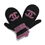 Chanel Shearling Tweed Black Pink Mittens