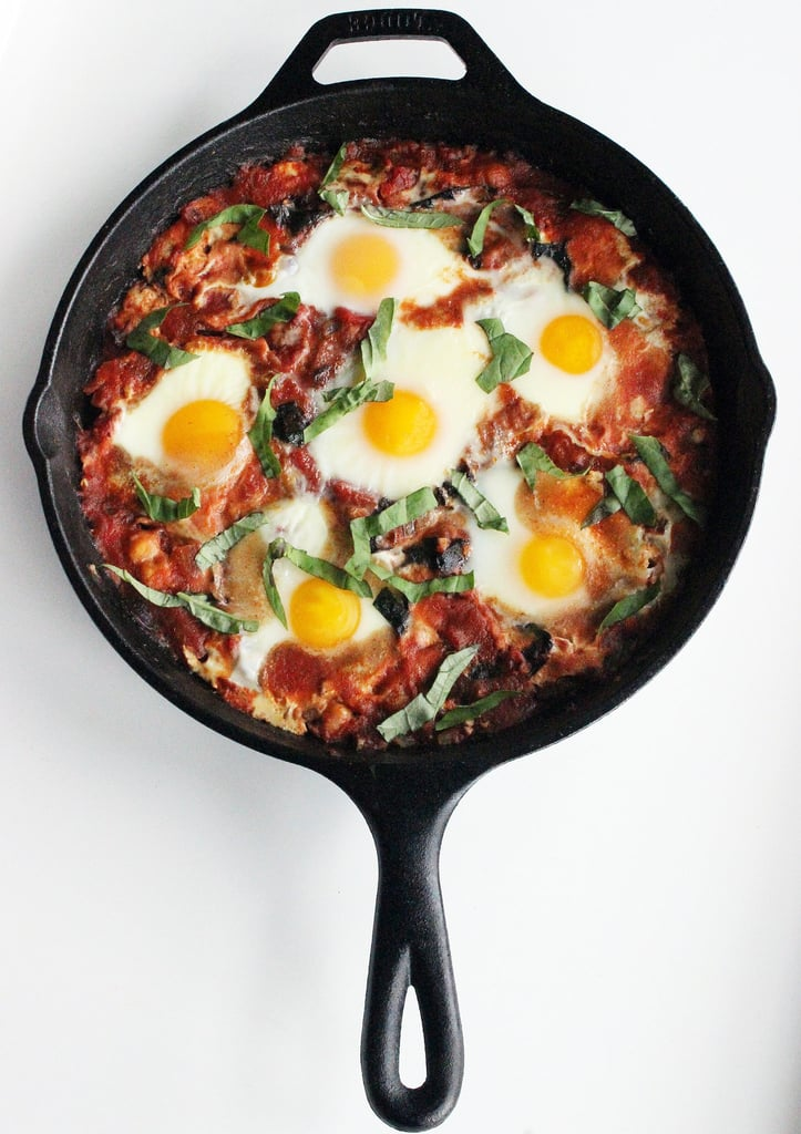 Poached Eggs With Tomato, Swiss Chard, and Chickpeas