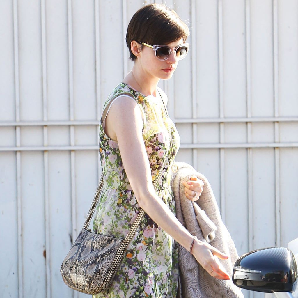 c7d26f6fdce2 Anne Hathaway Carrying Stella McCartney Bag