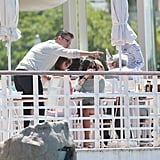 Matt Damon pointed out the water to his daughter Gia Damon at Eden Roc Hotel.