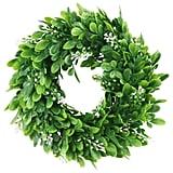 "ElaDeco 10"" Faux Boxwood Wreath Artificial Green Leaves Wreath"