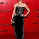 Elizabeth Banks maintained her fashion-forward status at the NYC premierein a Jenny Packham harem pant and bustier combo embellished with crystals. She finished the look with Lorraine Schwarz jewelry and an Edie Parker clutch.