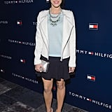 Jessica Lowndes wore a blue skirt and white jacket.