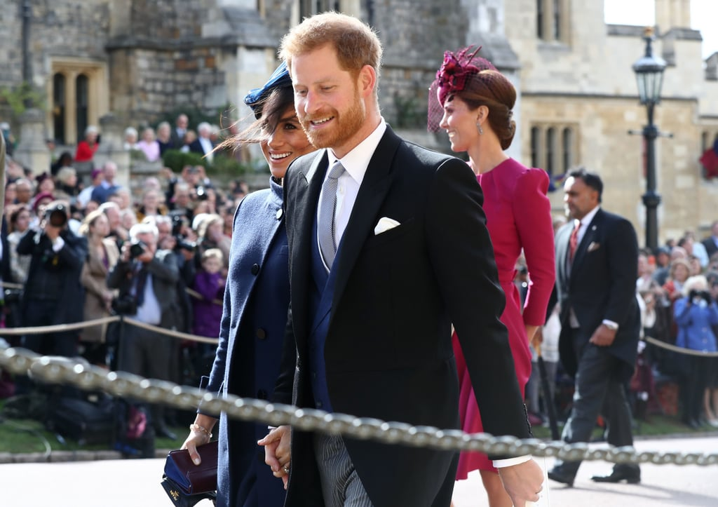 Prince Harry and Meghan Markle gave us major flashbacks when they attended Princess Eugenie and Jack Brooksbank's wedding on Friday. The couple, who also tied the knot at St. George's Chapel at Windsor Castle this past May, looked like their usual gorgeous selves, as Meghan stunned in a blue coat and Harry donned a suit. Harry and Meghan were clearly feeling the love as they chatted with Kate and William, and it, of course, reminded us of their own special day.  Harry and Meghan's stunning appearance comes just days before the pair embarks on their tour of Australia and New Zealand. The duo will be making stops in Sydney, Dubbo, Melbourne, Fraser Island, Fiji, the Kingdom of Tonga, Wellington, Auckland, and Rotorua, and it will mark Harry and Meghan's first royal tour as a married couple. During their trip, Harry will also kick off his annual Invictus Games, and the duo will be joined by David Beckham, who was recently named an ambassador of the Paralympics-style event. So exciting! Related: The Most Stunning Royal Weddings From Around the World