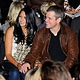 Matt Damon spent Valentines Day by his wife Luciana Damon's side at  Naeem Kham's NYFW show in February 2011.