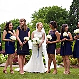 All of these knee-length navy gowns came together in perfect harmony.