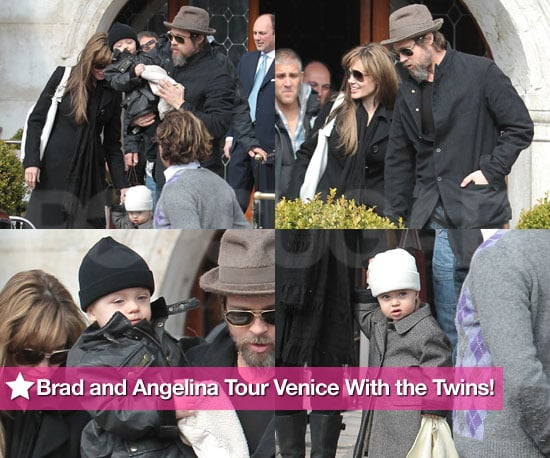 Brad and Angelina Tour Venice Again With the Twins!