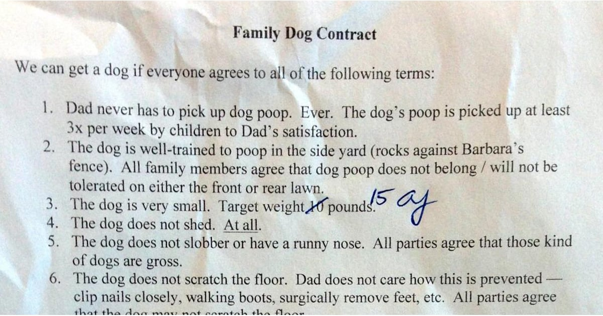 Dad's Contract to Kids For Pet Dog | POPSUGAR Moms
