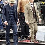 Joel Edgerton as Tom Buchanan and Tobey Maguire as Nick Carraway on the set of The Great Gatsby.