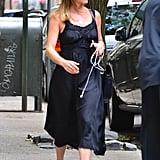 Wearing a Black Satin Dress With Sneakers
