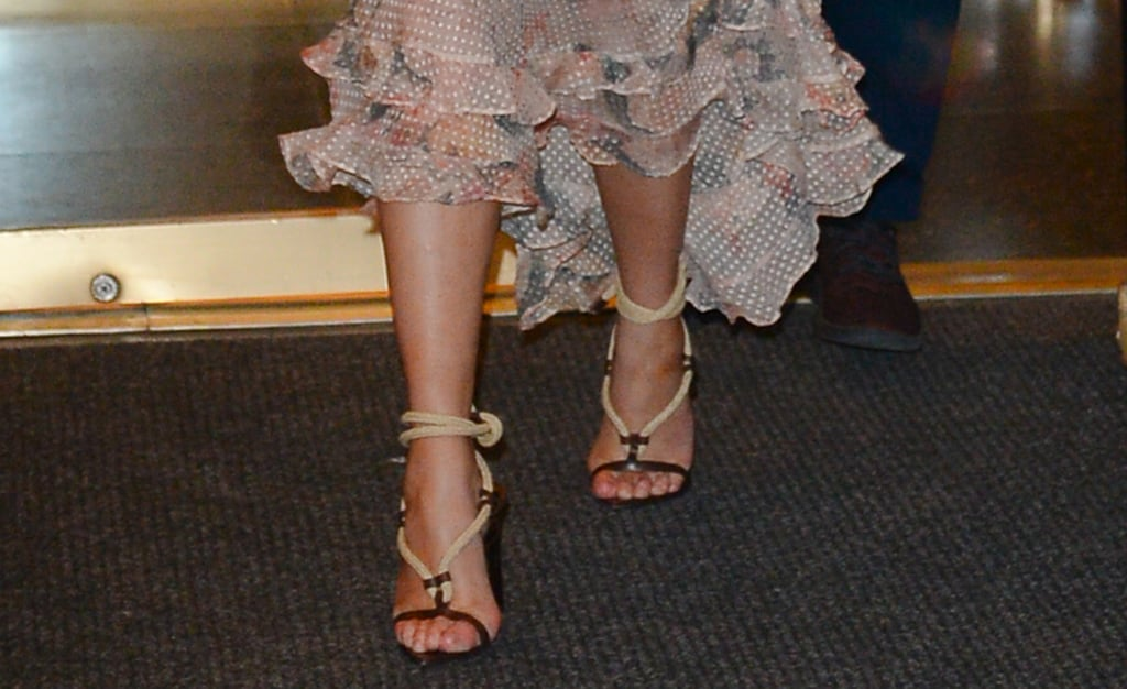 Chrissy Teigen Wearing Saint Laurent Rope Heels