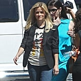 Reese Witherspoon arrived on set in LA with freshly styled hair.