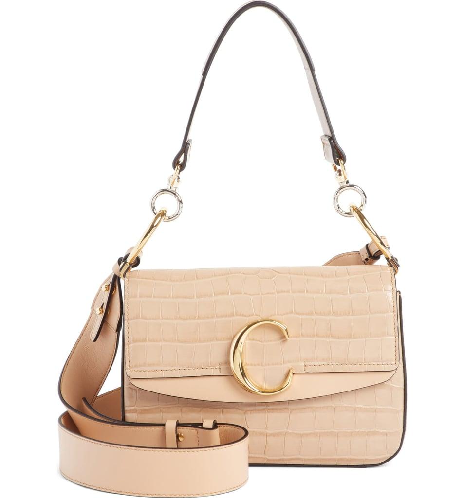 Chloé Croc Embossed Leather Shoulder Bag