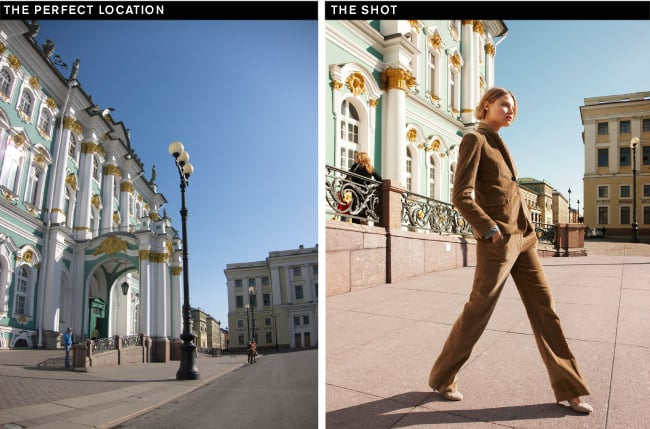 """""""We wanted the iconic Hermitage Museum to frame the model, not compete with her. Shooting at a low angle makes her long and elegant."""""""