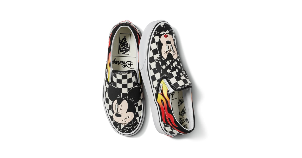 ae970be439f Disney x Vans Classic Slip-On in Mickey Mouse and Minnie Mouse Checker Flame