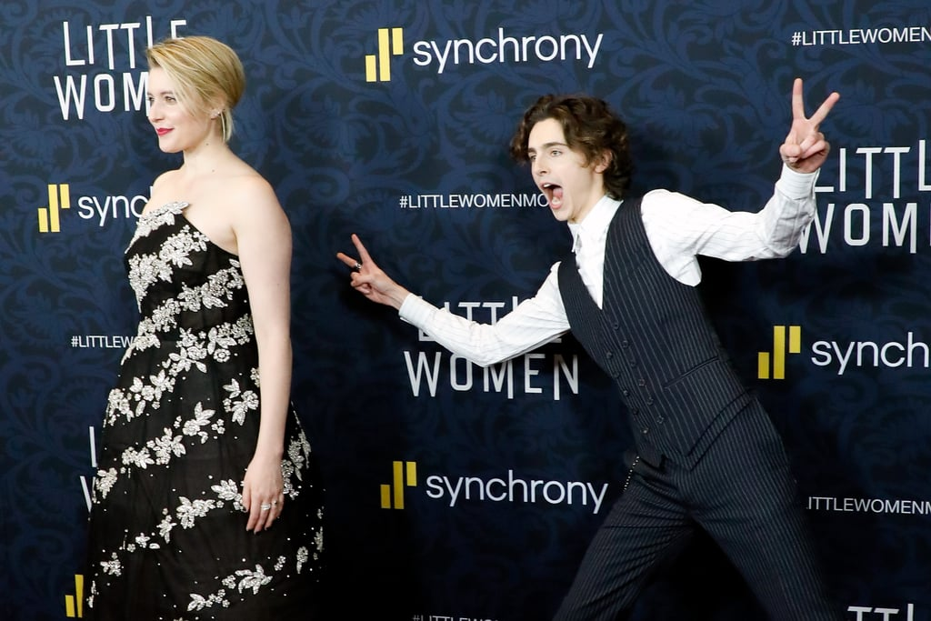 Pictured: Greta Gerwig and Timothée Chalamet at the Little Women world premiere.
