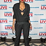 Jennifer Hudson showed off her bra during a performance for Carnival Cruises in NYC on Wednesday.
